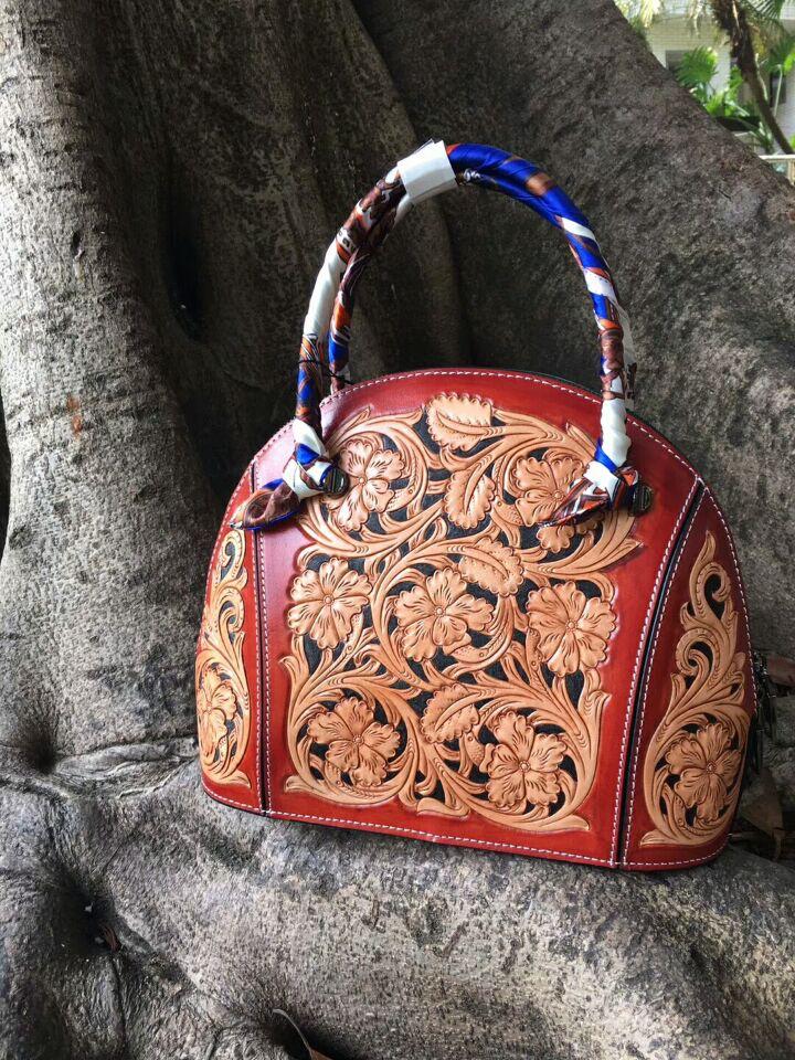 100% hand carved vintage flower italy vegetable tanned genuine leather designer handbags high quality women handbag shell bag vintage designer 100