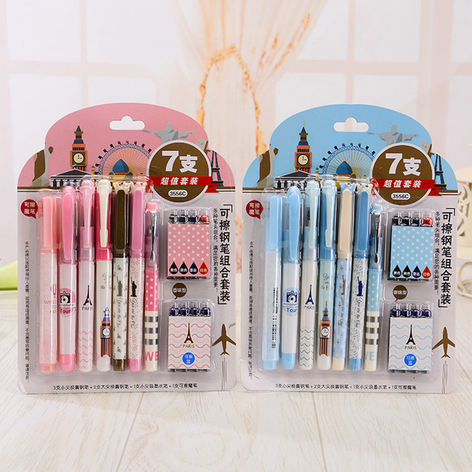 8Pcs ink 7Pcs Pens Erasable / Fountain pen Fine / Medium EF + F + M Nib Writing Fluency Standard Pen free shipping