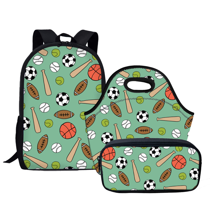 Green 3D Printing School Bags For Students Boys Kids Backpack Set 3 Pieces Schoolbag Foo ...