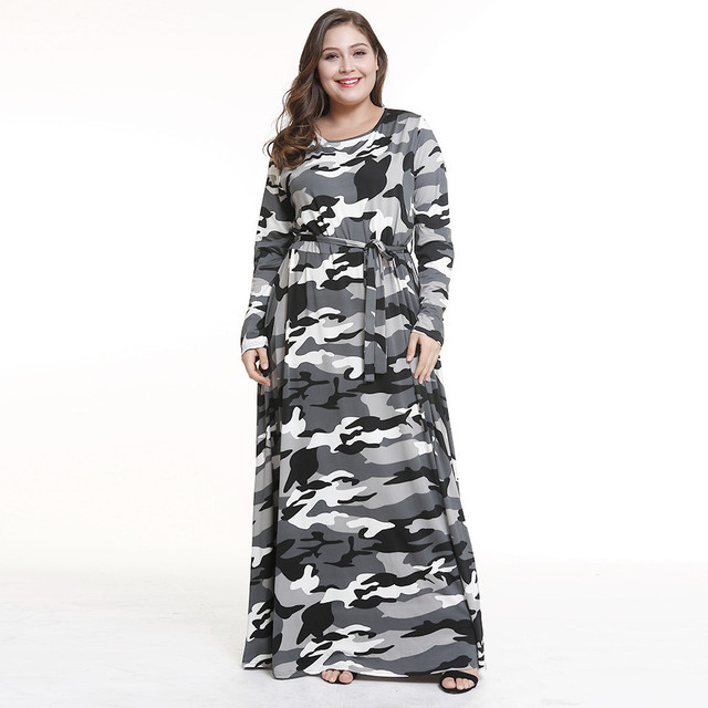 US $14.9 20% OFF|Plus size camouflage print vintage long sleeve autumn  winter women maxi dress elegant o neck tunic evening party robe femme  2018-in ...