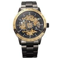 Ikcolouring Fashion Steampunk Black Steel Golden Bezel Automatic Mechanical Wrist Watch Mineral WR10M