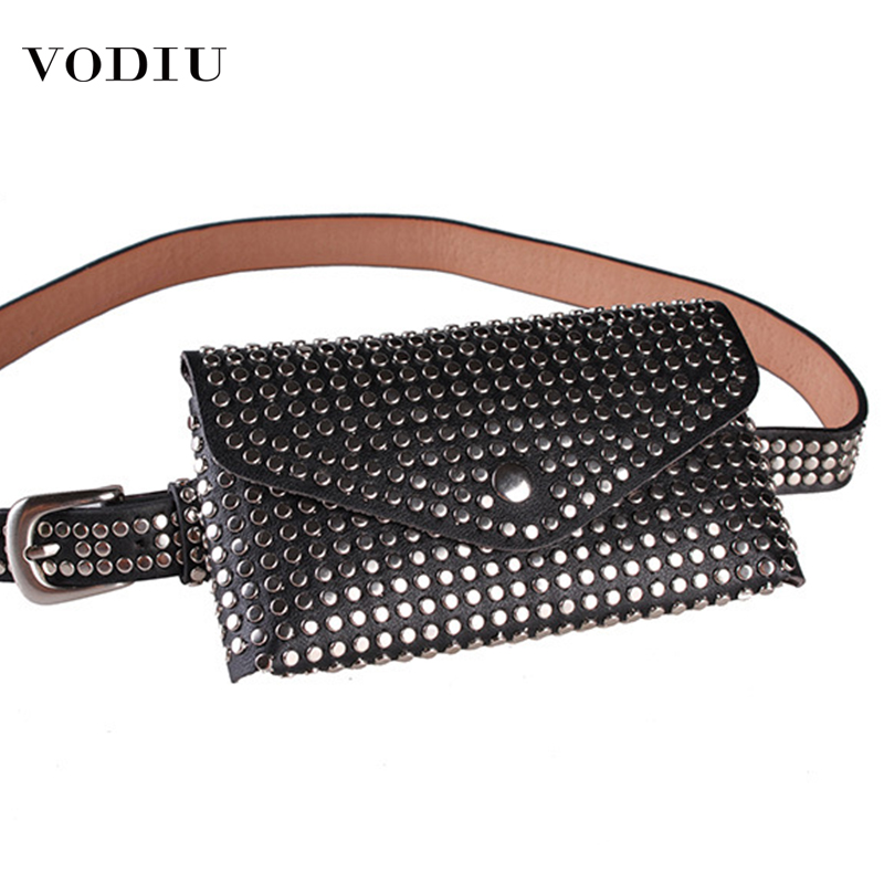 2019 Women Waist Bag Female Belt New Brand High Quality Pu Leather Purse Rivet Fashion Fanny Pack Ladies Waist Pack Belly Bags