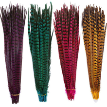 40-45CM 16-18  Ringneck Pheasant Tail Feathers for Crafts Black White long Natural Decoration Carnival Plumas
