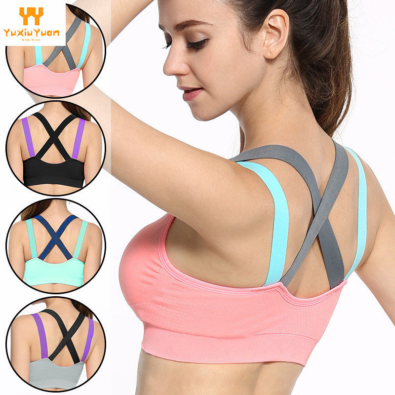 7357ada9cd 2018 Breathable Promotion Womens Gym Padded Tank Athletic Vest Underwear  Push Up Women Sports Bra Top