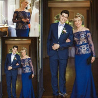 Royal Blue Plus Lace Mother Weddings Guest Mother Of The Bride Dresses robe de soiree vestido de madrinha Formal evening gown