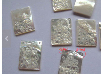 Double Drilled 25pcs 8x11-15x20mm Genuine MOP Shell ,Carved Ablong Rectangle Virgin Jesus White Jewelry Beads