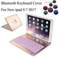 Luxury Wireless Bluetooth Keyboard Case For New Ipad 9 7 2017 LED 7colors Backlight Backlit Keyboard