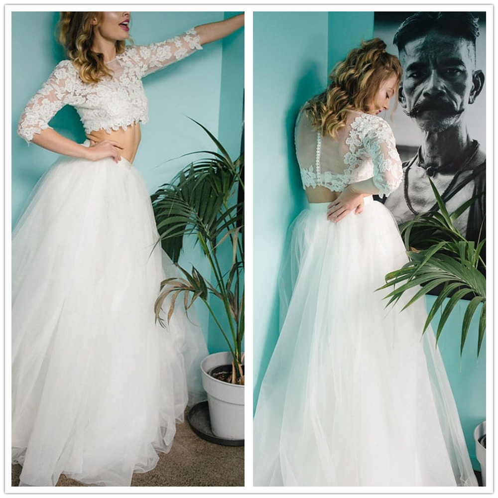 Elegant Lace Wedding Dress Vestidos De Novia Sweep Train A Line Bridal Dress Two-pieces Sexy Romantic Floor Length Wedding Gowns