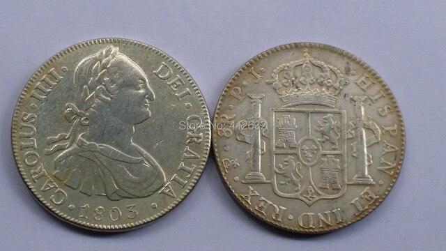 1803 Pj Bolivien Arme Von Spanien 8 Reales Carlos Iv Säulen Münze