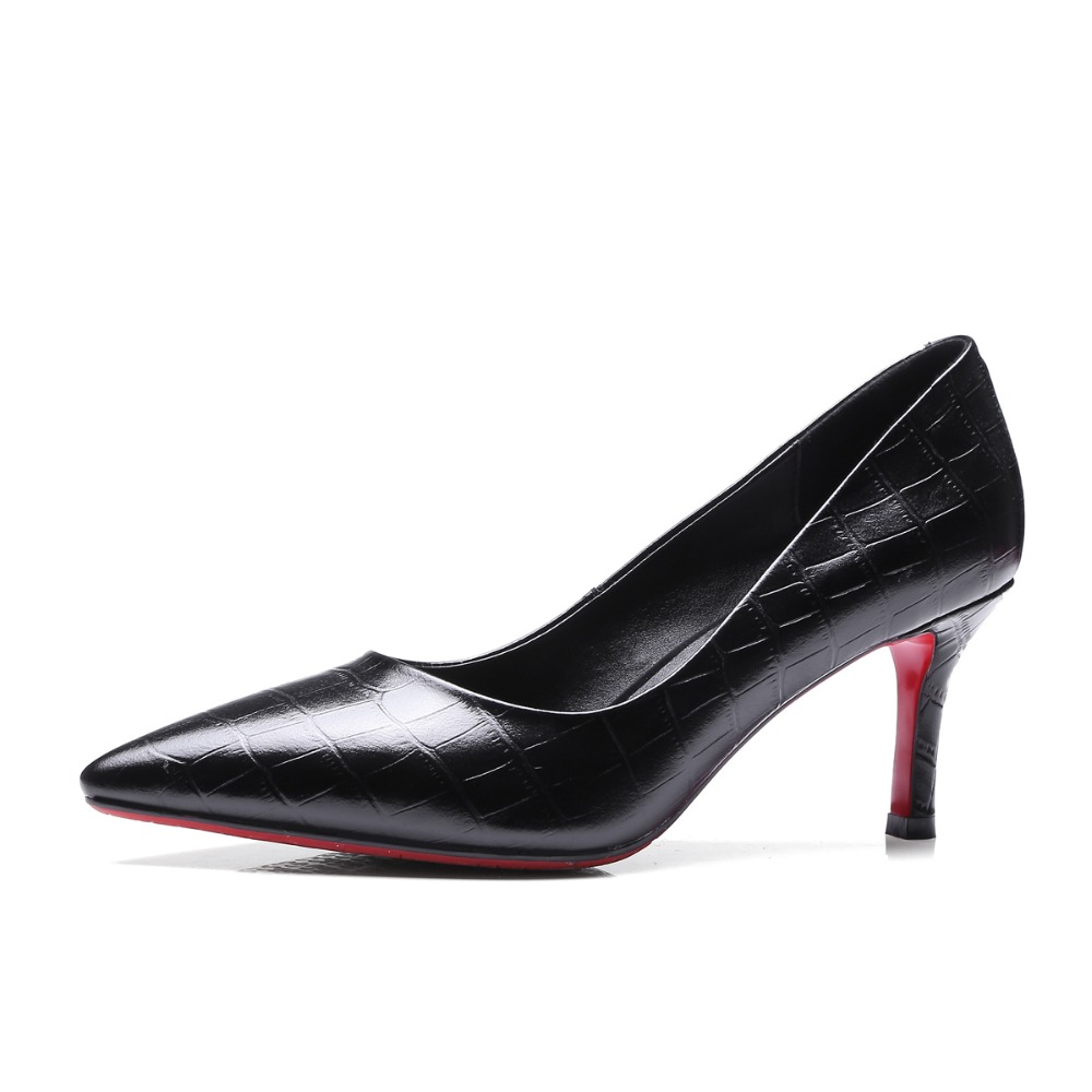 New High-quality 2017 Women Pumps Pointed Toe Thin Heels Pumps Fashion Black White Shoes Woman Plus US Size 3.5-10.5 new 2017 spring summer women shoes pointed toe high quality brand fashion womens flats ladies plus size 41 sweet flock t179