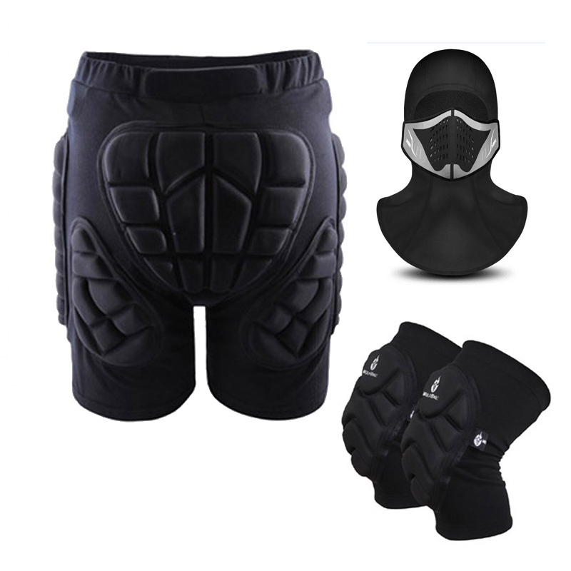 Outdoor Sports Skiing Skating Snowboarding Shorts Hip Protective Bottom Padded Protector Warm Face Mask Knee Pads