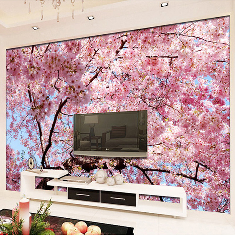 Custom mural wallpaper 3d cherry blossoms photo wallpaper for Cherry blossom mural works