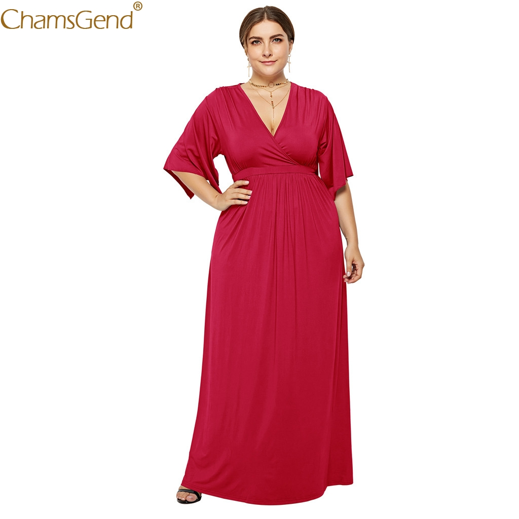 Sexy Solid Color V-neck plus size dress evening plus size dresses for women 2019 Loose Large Swing Irregular Summer Mar