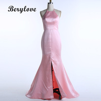 BeryLove Sereia Rosa/Ouro Vestidos de Baile 2018 Halter Backless Cetim Vestidos de Noite Vestidos Formais Longos Vestidos Especiais Da Ocasião