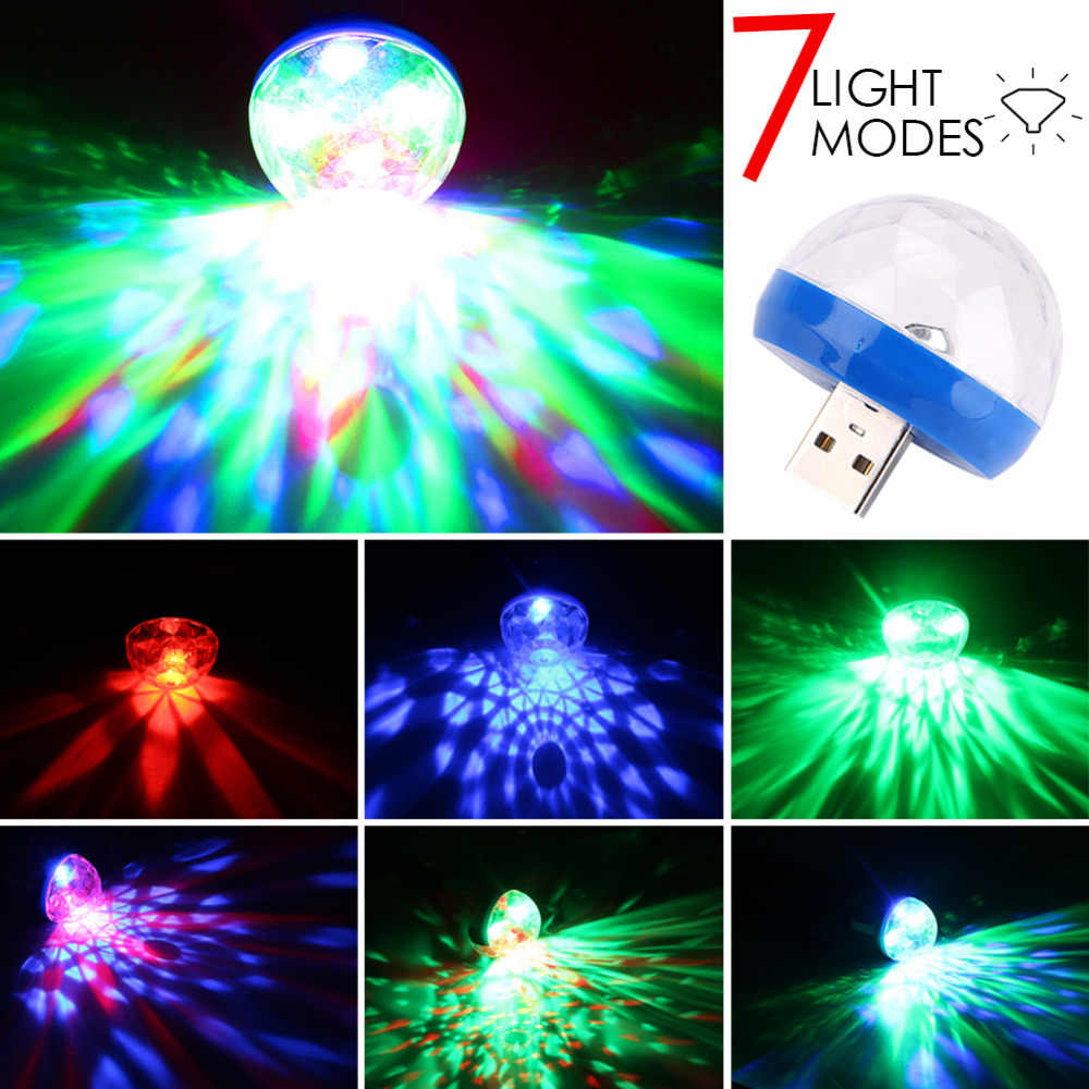 Portable USB/Micro USB Port RGB Disco Light LED Ball Laser Light Mini Crystal Magic Ball Effect Stage Lights for Smart Phone
