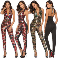 2019 Autumn Sexy Halter Camouflage Sequin Jumpsuit Women club Party Rompers Womens Jumpsuit Sexy Jumpsuits red dropshipping
