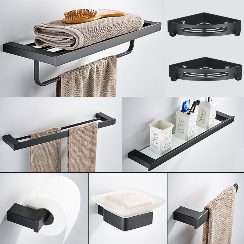 black square bathroom hardware set wall mounted stainless