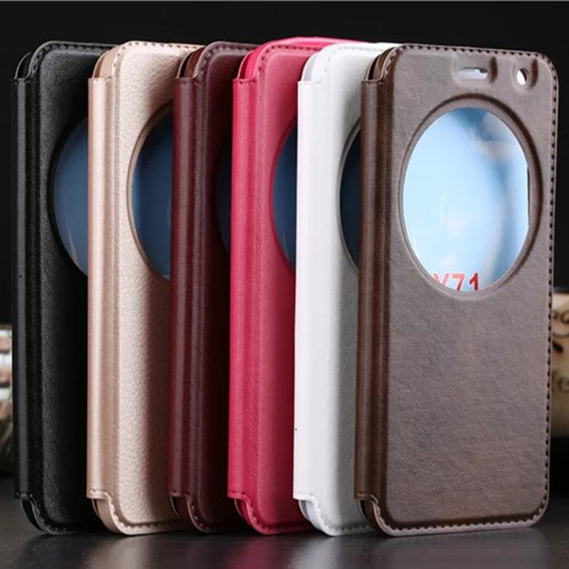 Luxury Vintage Double View Windows Flip PU Leather Case For Asus Zenfone 2 Laser ZE500KL Phone Back Cover Funda Capa image