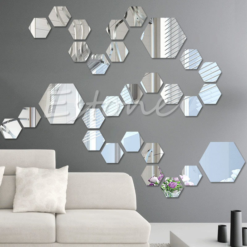12pcs 3d Mirror Decal Hexagon Vinyl Removable Wall Sticker