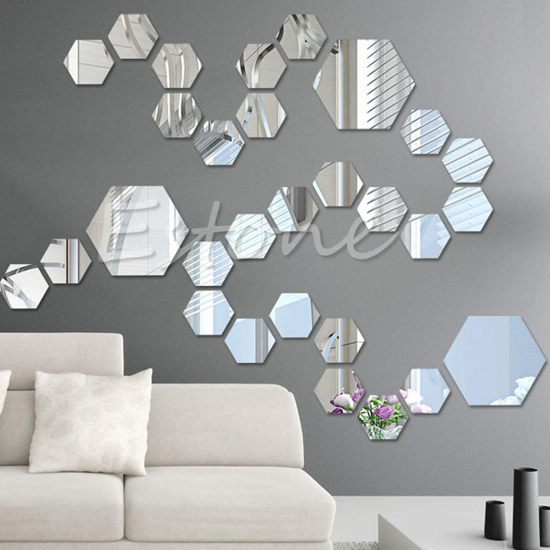 12PCS 3D Mirror Decal Hexagon Vinyl Removable Wall Sticker Home Art DIY Decorin Wall Stickers