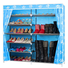 Oxford cloth waterproof canvas shoe rack stainless steel double folding dust assembled multilayer simple
