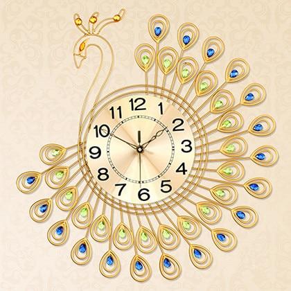 The Shining Golden Peacock Wall Clock European Modern Creative ...