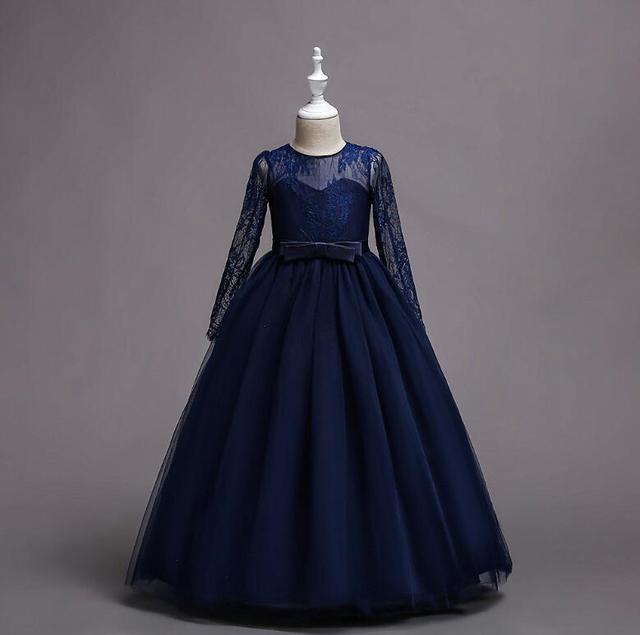 Children's lace performance princess dress girls long sleeve mesh dancing dress Family Matching Outfits R496