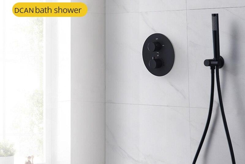 Shower System Black Rainfall Shower Head Brass Body Hand Shower Bathroom Rain Mixer Thermostatic 108 Shower Set (19)
