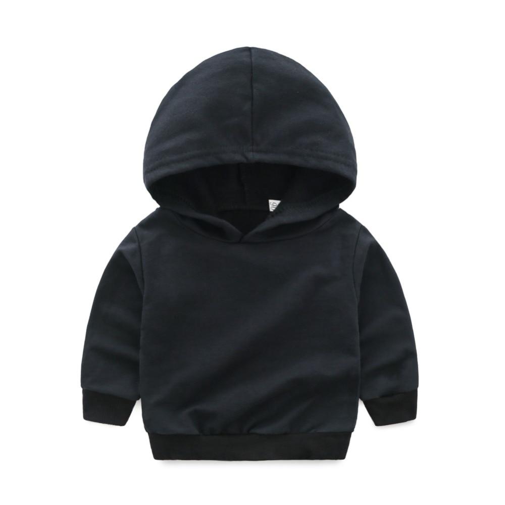 Children Sets Boys Black suit Cotton autumn hoodie gradual change jeans suit two-pieces/Set Solid Color black causal two side pockets hoodie