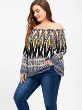 Plus Size 5XL Off the Shoulder Bell Flare Sleeve Ethnic Chiffon Blouse Shirt