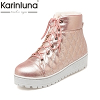 KARINLUNA 2017 Gold Pink Sliver Lace Up Casual Winter Shoes Women Comfortable Flat Heel Warm Plush