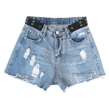 New Cotton Denim Shorts Women 2019 Vintage Irregular Denim Shorts Loose High Waist Harajuku Hole Raw Denim Shorts Female #6228 фото
