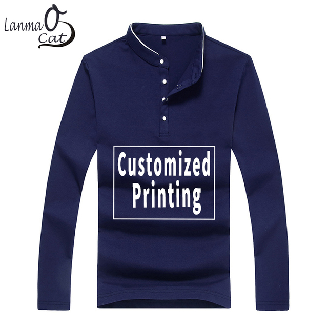 aca6f785 Lanmaocat Long Sleeve Blank Collar Stand Polo Shirts 3XL 4XL 5XL Custom  Printed Polo Top Shirts Autumn Clothing Free Shipping