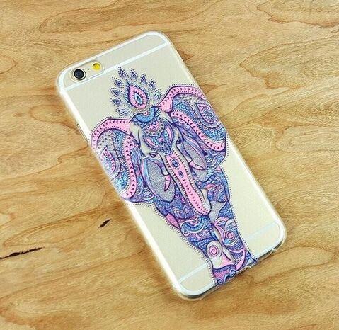 imágenes para Henna diseño paisley elefante claro transparente tpu soft case cove para iphone sí 4 4S 5 5S 5c 6 6 s 6 plus 7 7 plus 100 unids