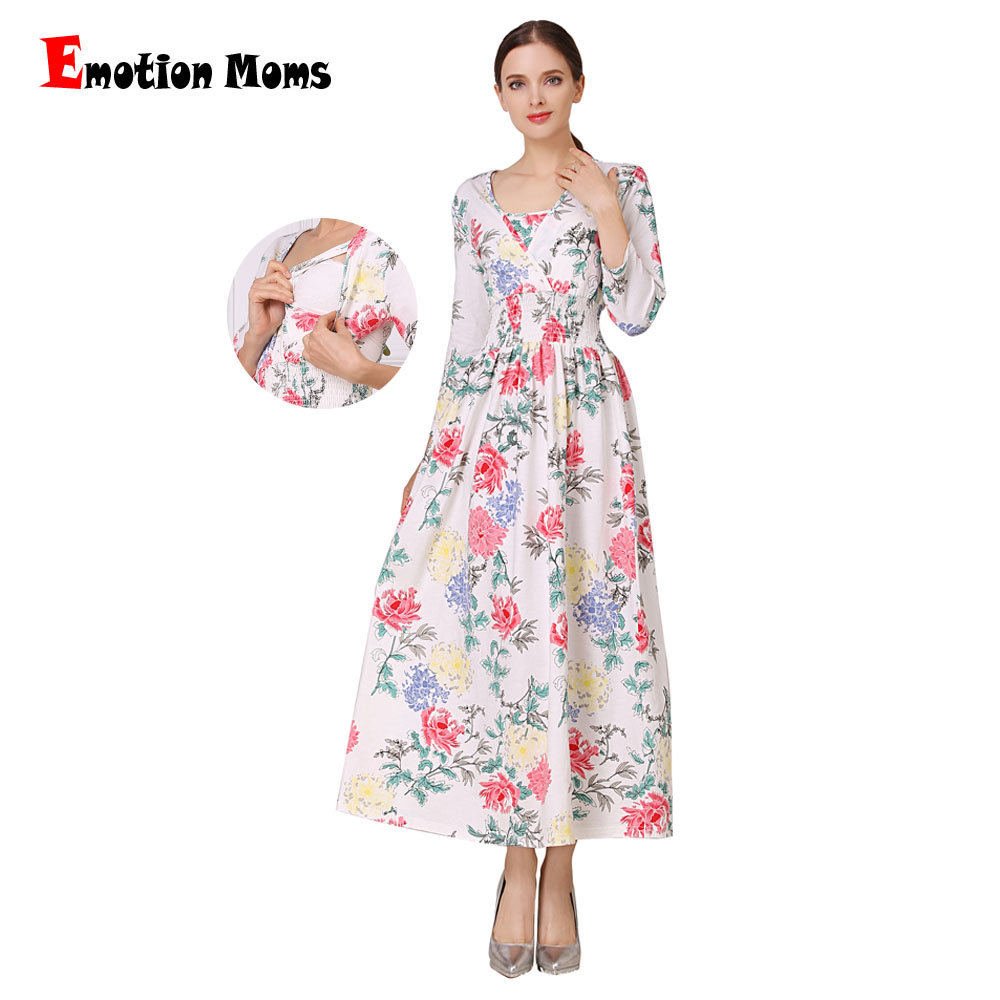 Émotion Mamans NOUVEAU Floral Coton Mélange De Maternité Vêtements pour Les Femmes Enceintes Robe Allaitement Long Allaitement Robes
