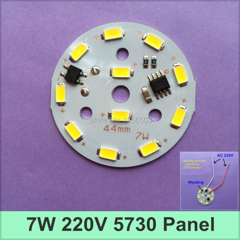 100pcs/lot AC 220V 5730 Aluminum PCB 7W 44MM Bulb Lamp Panel Integrated IC Neednt Driver SMD High Voltage Light Plate Power PCB