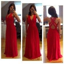 Simple Red Abendkleid Günstige V-ausschnitt Bodenlangen Chiffon Abend Party Kleider vestidos de graduacion Heißer Verkauf