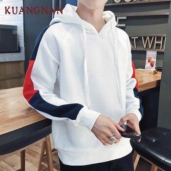 KUANGNAN Striped Japanese Hoodie Men Fashions Streetwear Man White Hoodie Men Street Wear Pullover Mens Hoodies Male 2018 Autumn
