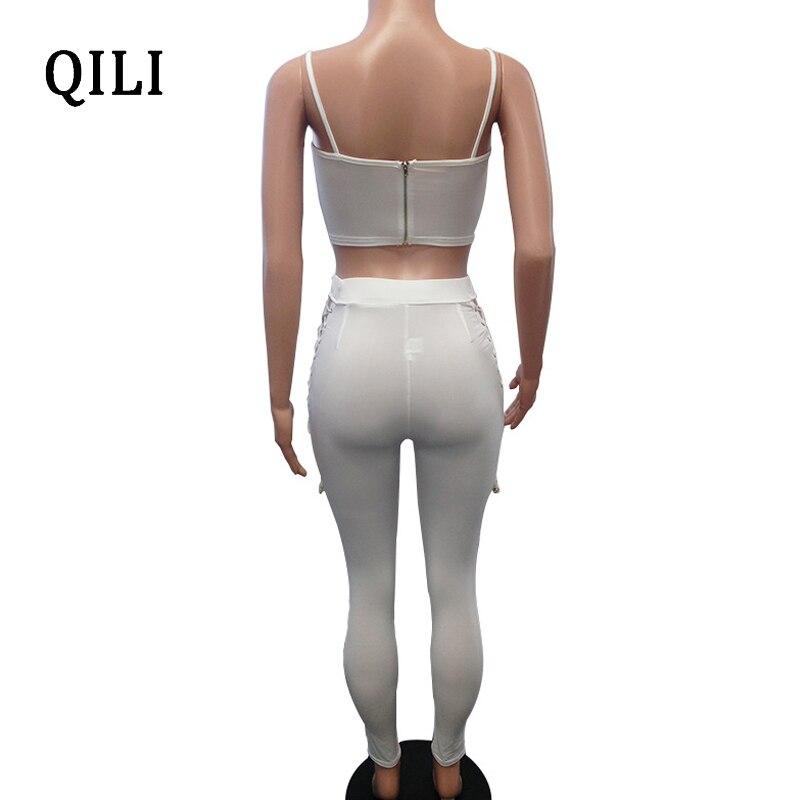 23c9b196fe0 2019 QILI Two Piece Lace Up Sexy Jumpsuits Women Romper Dark Blue ...