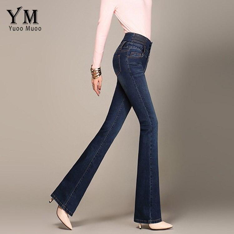 YuooMuoo Ladies Casual High Waist Long Elastic Buttons Women Jeans Skinny Fit Slim Full Length Denim Flare Pants