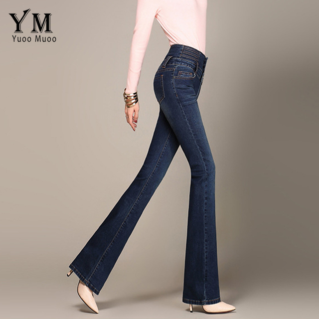 91aa907e058307 YuooMuoo Ladies Casual High Waist Long Elastic Buttons Women Jeans Skinny  Fit Slim Full Length Denim Flare Pants