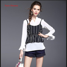 Fairy Dreams 2 Piece Set Women White Chiffon Shirt And Striped Vest 2017 Spring Summer Blouse Fashion Blusas Plus Size Clothing