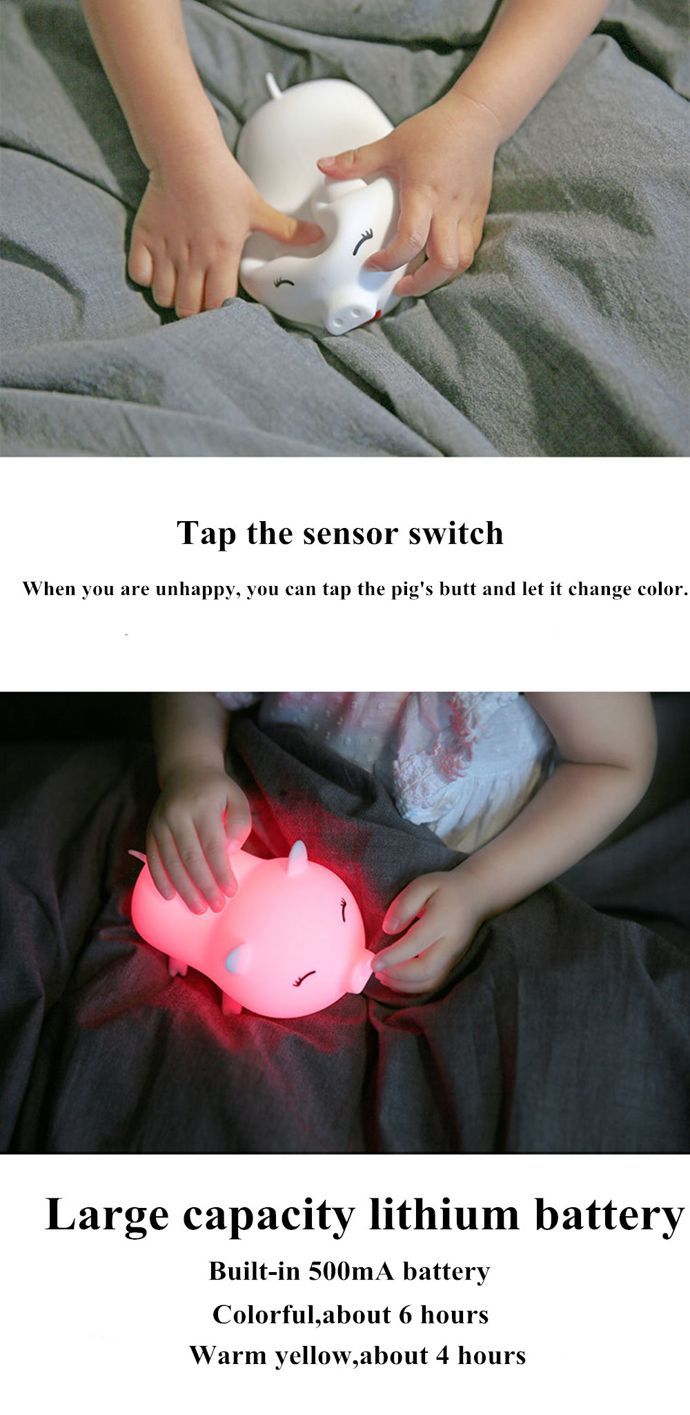 SuperNight Cute Pig LED Night Light Rechargeable Colorful Silicone Animal Touch Sensor Table Lamp Baby Kids Bedroom Bedside Lamp (21)