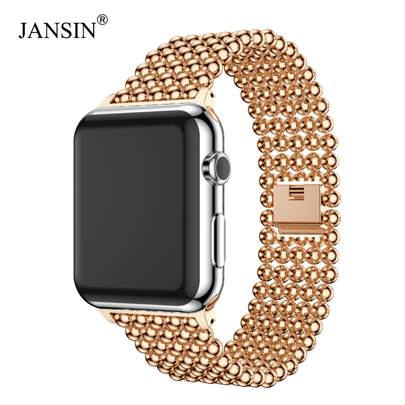 Stainless Steel Strap for apple watch band 40mm 44mm 42mm 38mm metal link bracelet women Watchband for iWatch 4/3/2/1 band jansin strap band for apple watch 40mm 44mm 42mm 38mm for iwatch 3 2 1 stainless steel watch band link bracelet watchband strap