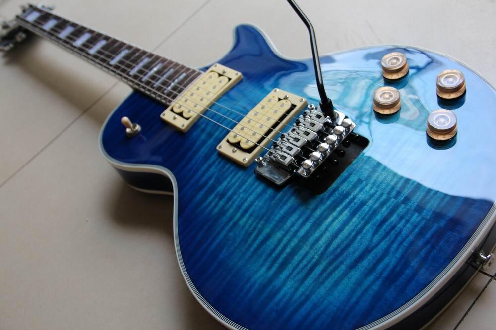 En gros Cibson Custom Shop Électrique guitare micros Seymour Duncan/vibrato floyd rose en blue burst 120925