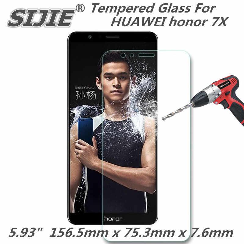 Capa protetora de Tela de Vidro temperado Para HUAWEI honor 7X honor7X 5.93 polegada smartphone caso temperado 9 H em cristais finos claro