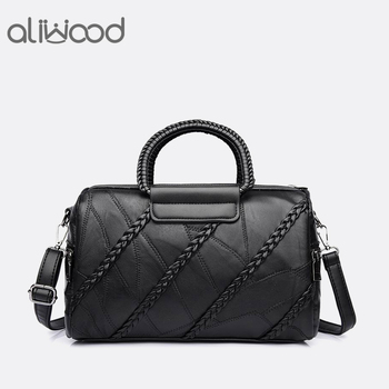 Aliwood Genuine Leather Women's handbags Messenger Bags Diamond Rivet Crossbody bags for Women Brands Knitting Tote Beans bag цена 2017