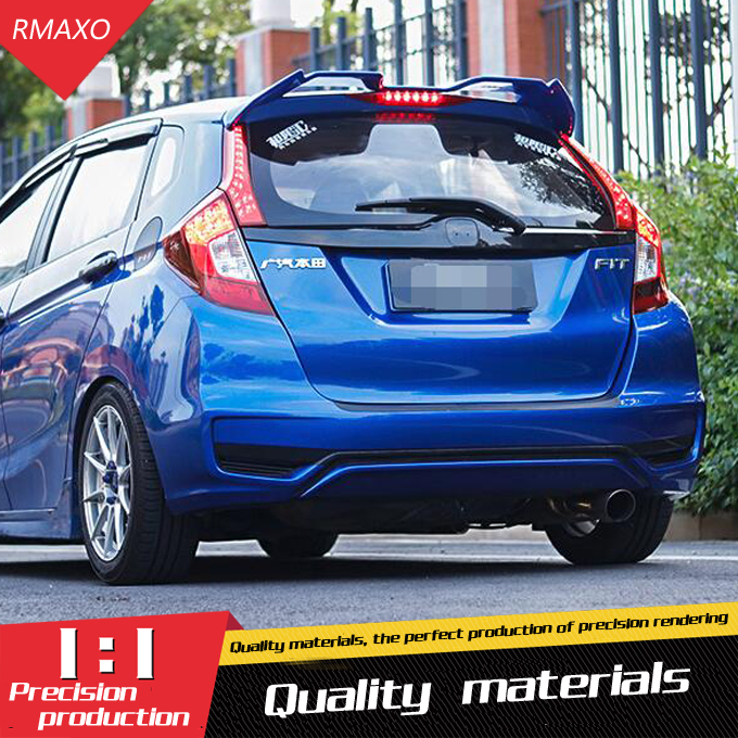 use for honda fit jazz Spoiler 2014 2017 fit jazz Spoiler OYB High Quality ABSMaterial Car Rear Wing Primer Color spoiler|Spoilers & Wings| |  -