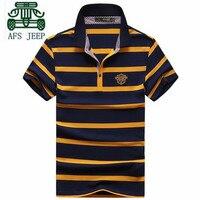 AFS JEEP Thin Striped 100 Cotton Man S Short Sleeve Tops T Shirt 2016 Summer Man