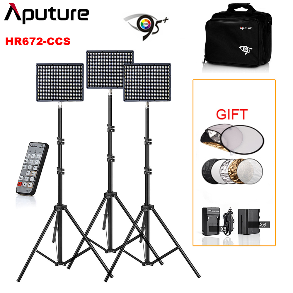 2Pcs Aputure Amaran HR672C CRI 95+ Color Temperature Adjustable + 1pcs  HR672S Kit Led Video Studio Light   Battery   Charger 935710d8447